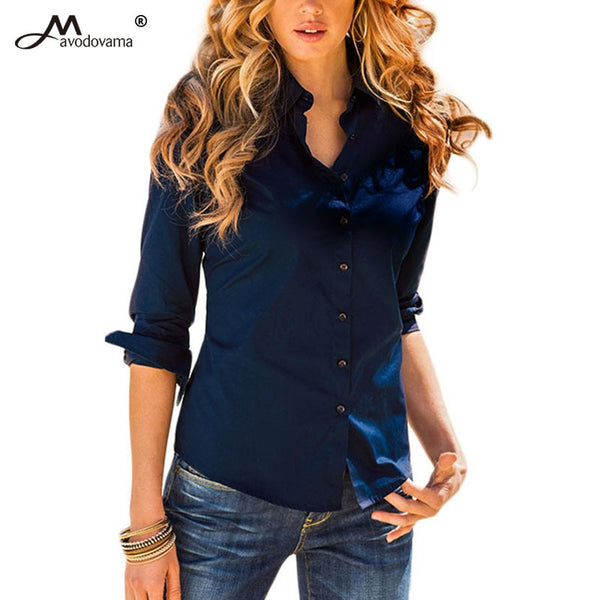 Avodovama M 5 Solid Color New Long-Sleeve Shirt Female Cotton Blouse Women's Slim Clothing Office Blouse