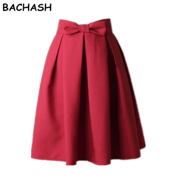 BACHASH Elegant Women Skirt High Waist Pleated Knee Length Skirt Vintage A Line Big Bow Red Black Side Zipper Skater Skirts Red