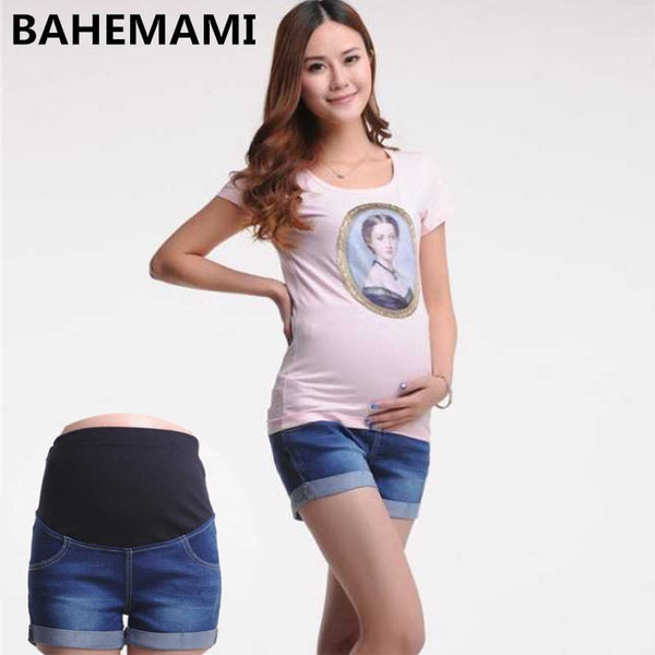 BAHEMAMI Maternity Denim Short Summer Jeans Pants For Pregnant Women Gravidas Clothing Pregnant pants Elastic Abdominal Jeans