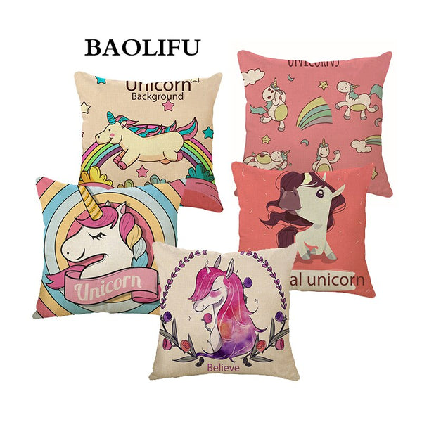 BAOLIFU Cartoon Unicorn Animal Cushion Cover Printing  Linen Decorative Pillow Case Chair Seat Square Pillow Cover Home A141