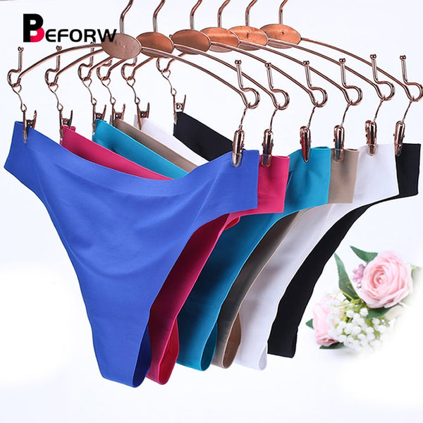 BEFORW Comfort Ice Silk Panties Underwear Women Sexy Seamless Thong Plus Size Vs Pink Lingerie Solid Simple Thongs And G Strings