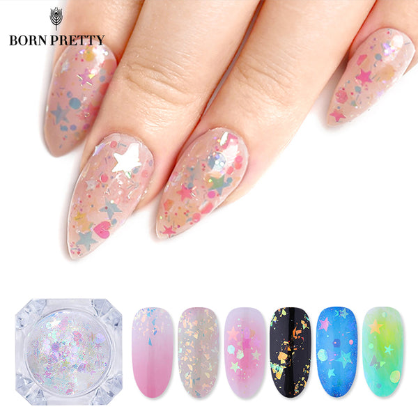 BORN PRETTY AB Color Nail Glitter Flakies Irregular Star Round Iridescent Sequins Powder Nail Art Decoration Chrome