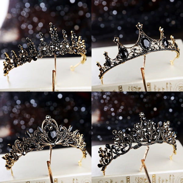 Baroque Retro Black Luxury Bridal Crystal Tiaras Crowns Princess Queen Pageant Prom Rhinestone Veil Tiara Wedding Hair Accessory