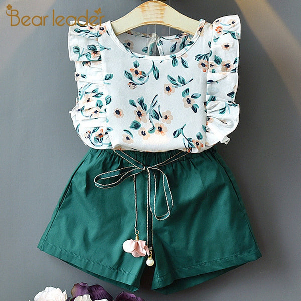 Bear Leader Girls Clothing Sets New Summer O-Neck Sleeveless T-Shirt+Pants 2 Pcs Kids Clothing Sets Children Clothing