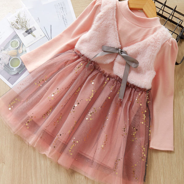 Bear Leader Girls Dress  New Autumn Casual Style Cartoon Pink Long Sleeve Wool Bow Design For Princess Dress Girls Clothes