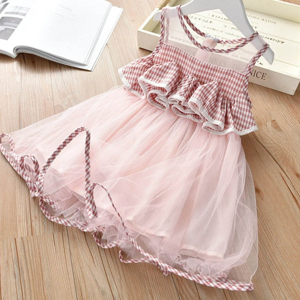 Bear Leader Girls Dress New Summer Mesh Girls Clothes Pink Applique Princess Dress Children Summer Clothes Baby Girls Dress