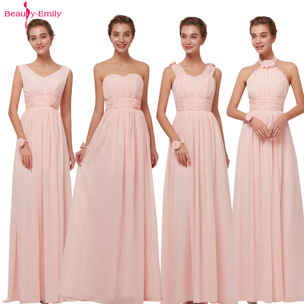 Beauty Emily Bridesmaid Dresses Chiffon Long Pink A-Line Sleeveless Wedding Party Prom Girl Dresses Hot Sale