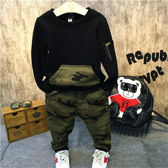 Belababy Casual Children Clothing Set Long Sleeve Baby Boy Camouflage Shirt+Pants Kids Outfits 2PCS Sports Suit Clothes For Boys