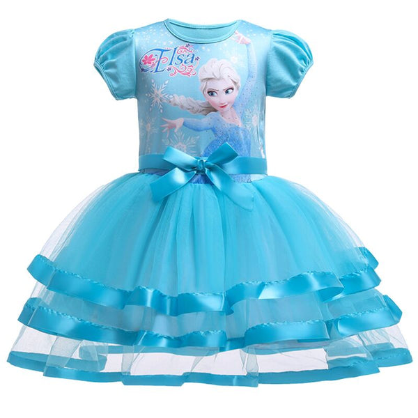 Berngi 2-8 Years Summer Elsa Tutu Lace Vest Girls Dress Baby Girl Gift Dress Chlidren Clothes Kids Party Christmas Clothing