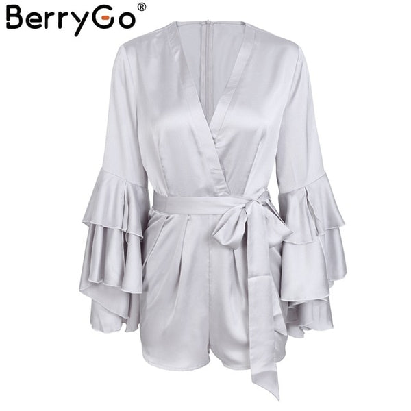 BerryGo Sexy v neck flare long sleeve playsuit High waist tie up pleated satin short romper - Summer women jumpsuit