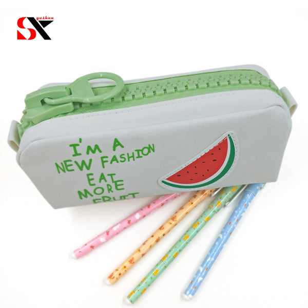 Big zipper Fruit pencil case Canvas school pencil bag Stationery  Storage  large bag pen box Office supplies gift bags