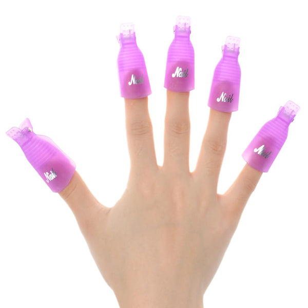 Biutee 10PC Nail Art Plastic Gel Nail Polish Remover Soak Off Cap Clip UV Gel Polish Wrap Tool for removal of varnish