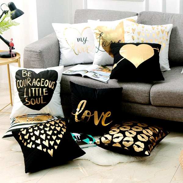 Black Golden Cushion Bronzing LOVE Heart Lips Gold Foil Cushion Decorative Pillows Home Decor Throw Pillow Sofa