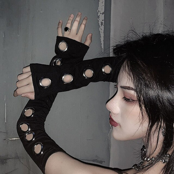 Black Punk Gothic Hollow Out Unisex Women Men Eyelet Sport Outdoor Elbow Length Sleeve Cool Stretch Character Arm Warmer