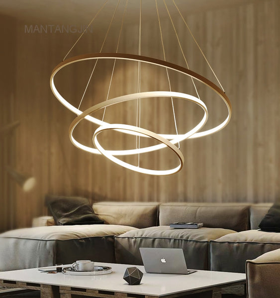 Black/White/Golden Modern pendant lights for living room dining room 4/3/2/1 Circle Rings acrylic aluminum body LED pendant Lamp