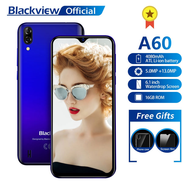 Blackview A60 Smartphone Quad Core Android 8.1 4080mAh Cellphone 1GB+16GB 6.1 inch 19.2:9 Screen Dual Camera 3G Mobile Phone