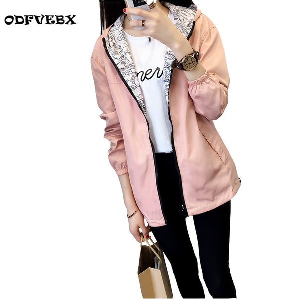 Boutique - new windbreaker jacket female spring autumn Zipper pocket with cap both sides wear loose print coat women ODFVEBX