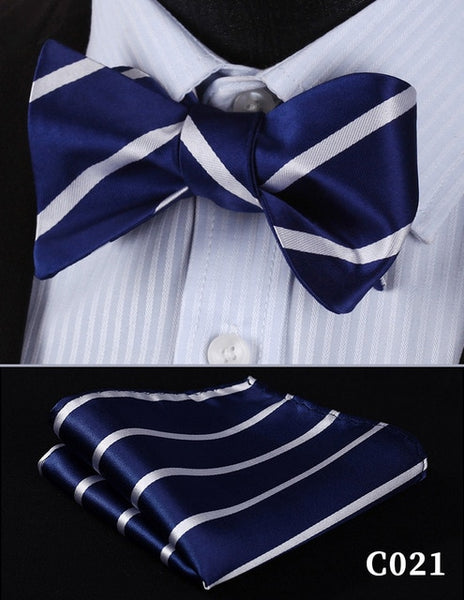 Bow Tie Handkerchief  Men's Navy Blue Self Bow Tie Set Woven Silk Plaid Party Wedding
