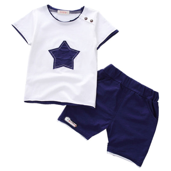 Boys clothing set  Summer new fashion 100% cotton with five-star print for 1 2 3 Years old infant clothes 2pcs set A075