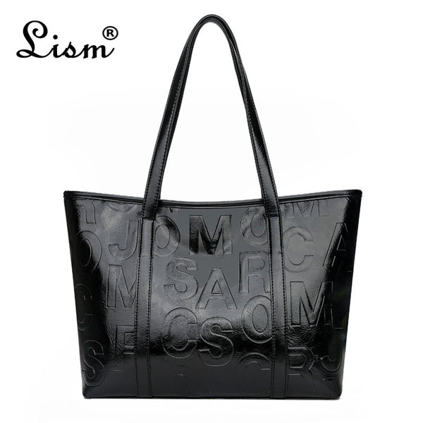 Brand Luxury Women's Bag New Large Capacity Tote Bag Designer Letter Handbag Soft PU Leather Shoulder Bag Black Main