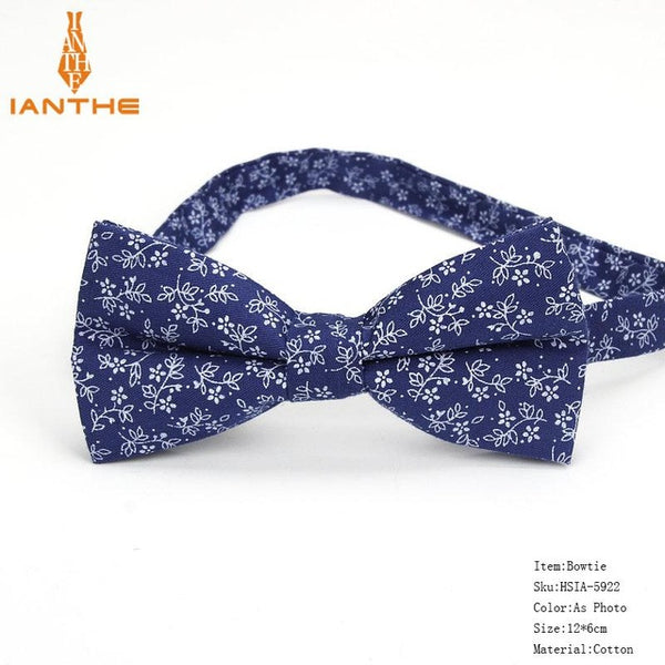 Brand New Men's Designer Skinny Flower Navy Flower Pocket Square Handkerchief Butterfly Bow Tie Ties Set Suits Sets for Man