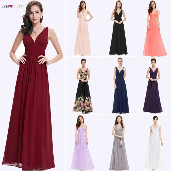 Bridesmaid Dresses Ever Pretty 5 Style Womens Fahion A-line V-Neck Elegant Long Chiffon Wedding Party Gowns