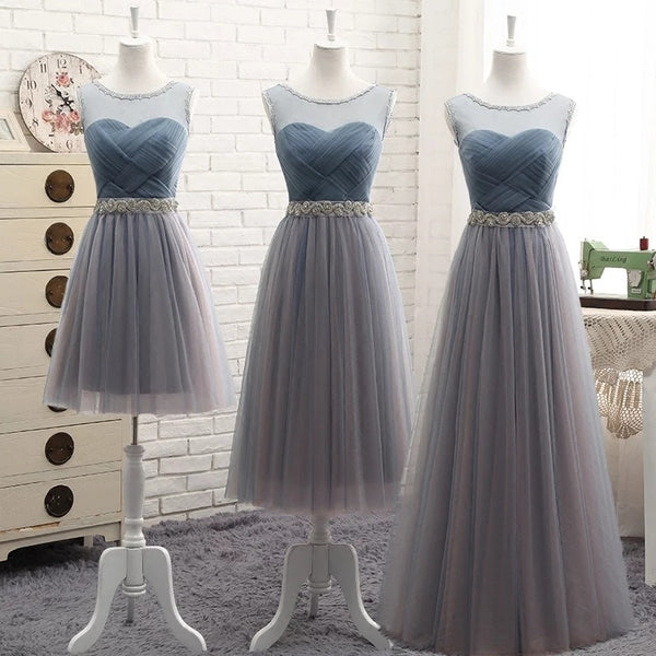 Bridesmaid Dresses Elegant Long Gray Blue Rhinestone Belt Wedding Party Dresses Slim Banquet Homecoming Party Prom Dresses