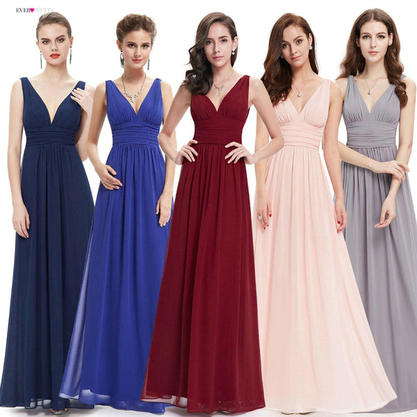 Bridesmaid Dresses Ever Pretty EP09016 Double V Burgundy Elegant Long Formal Wedding Bridesmaid Dresses for Vestido Dresses
