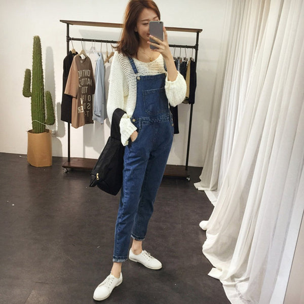 Brief Denim Blue Women Overalls Girls Stretchable Skinny Suspender Long Pants Casual Female Romper Jumpsuits Jeans