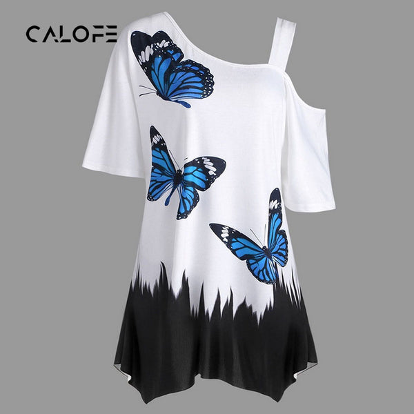 CALOFE Summer T-Shirts Women Butterfly Printed Tees Off  One Shoulder Irregular Top Female Plus Size Loose Long Tee Top Camiseta