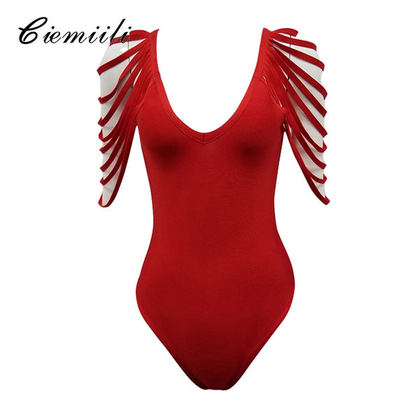 New Sexy Fashion Tassel Solid Bodycon Skinny V-neck Hollow Out Women Nightclub Bandage Celebrity Bodysuit Romper