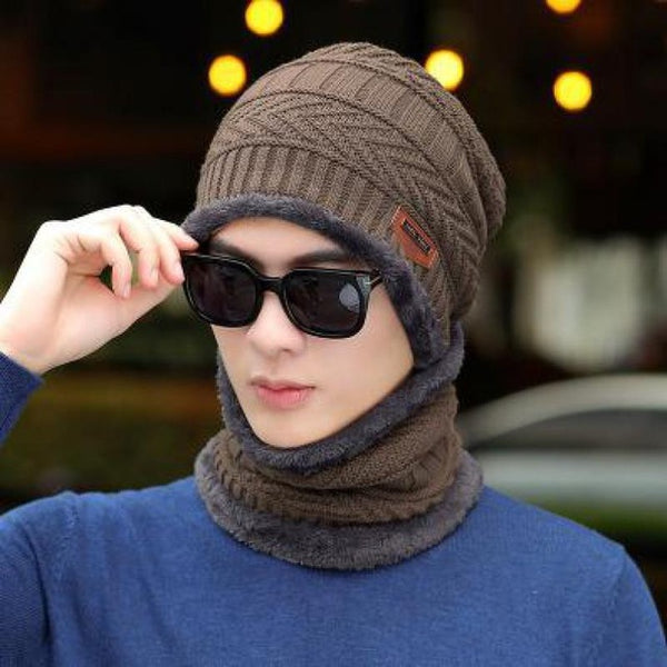 COKK Winter Beanie Hat For Men Knitted Hat Winter Cap Beanie Women Thick Wool Neck Scarf Cap Balaclava Mask Bonnet Hats Gorras