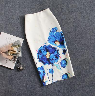 CR Summer Fashion skirt Floral print H type Women high waist Elegant Vintage pencil skirt Split the fork female knee length