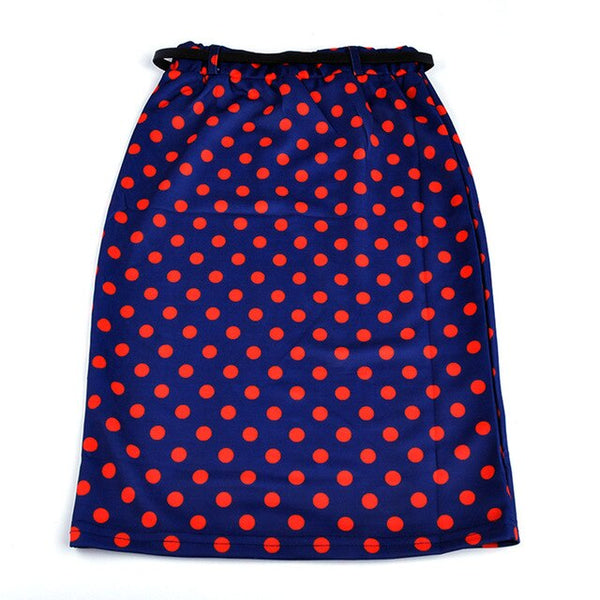 Candy Color Vintage Women Elastic Slim Medium-long High Waist Skirt Stretch Pockets Hip Pencil Skirt with Belt