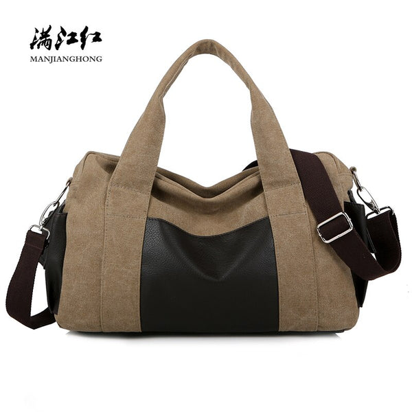 Canvas Shoulder Travel Bags Men Large Capacity Casual Women Tote Travel Bag Fashion Patchwork Leather Travel Laptop Bag 1030-4