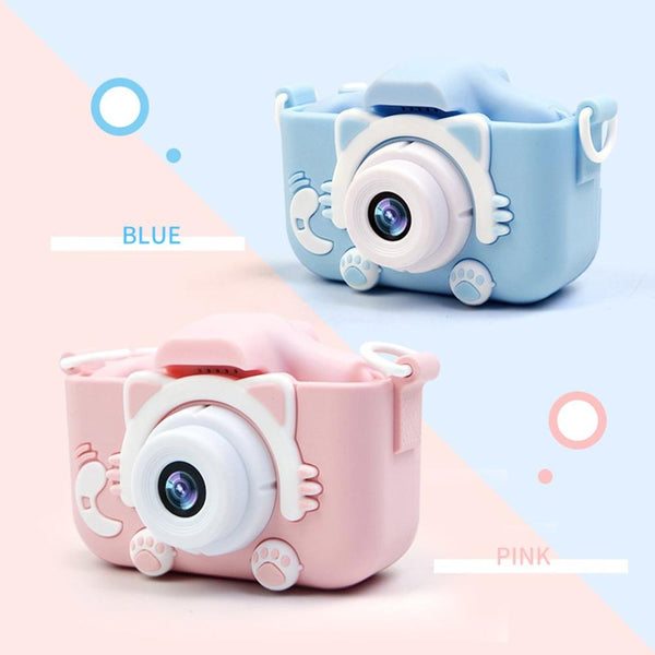Cartoon Anti-fall Mini Children Camera Front And Rear Double Digital Small SLR Camera Cartoon Cute Camera Toys