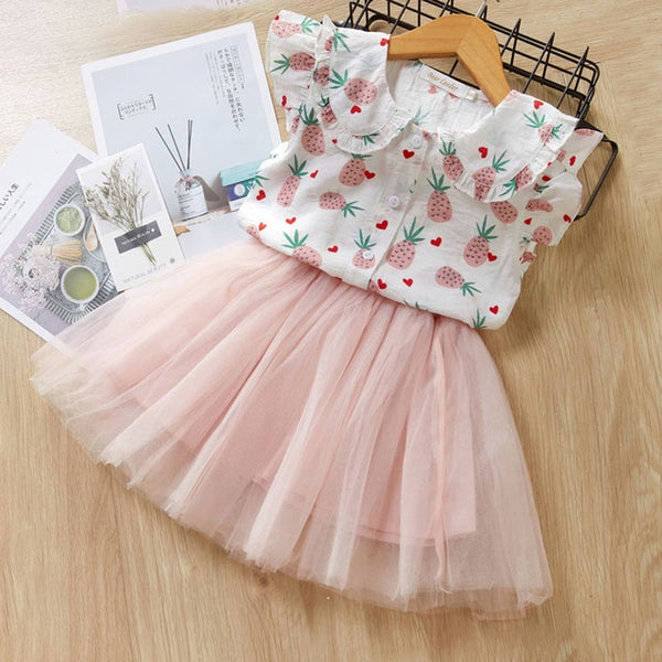 Casual Girls Dresses Brand Kids Clothes Butterfly Sleeve Letter T-shirt Floral Voile Dress 2Pcs for Clothing Sets Children Dress