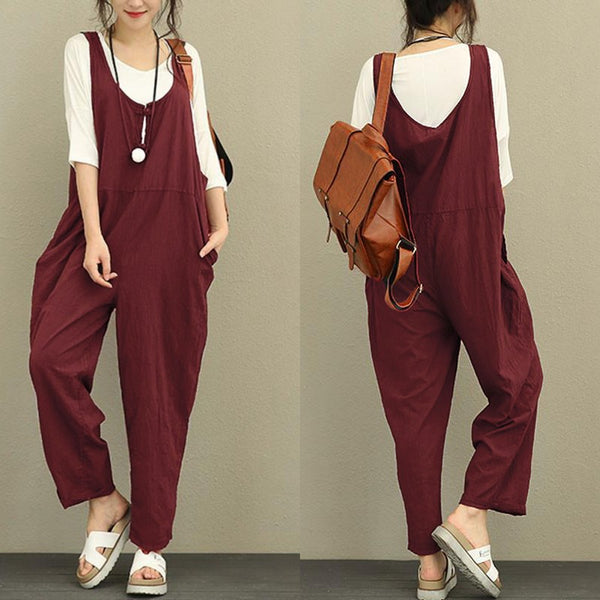 Celmia Rompers Women Jumpsuit - Autumn Botton Sleeveless Backless Solid Casual Loose Vintage Linen Playsuit Plus Size Overall