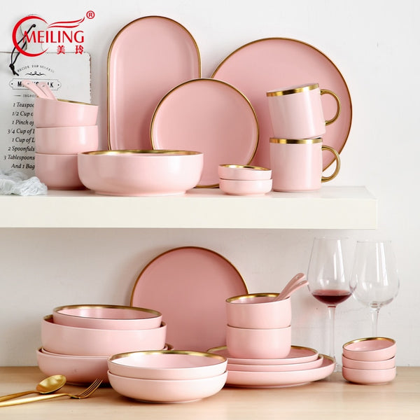 Ceramic Pink Dinner Set With Gold Edge Nordic Kitchen Accessories Serving Dish Plate Bowl Decorative Dinnerware For Wedding Home