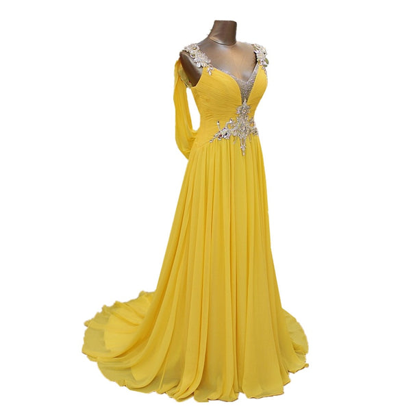 Charming Yellow Chiffon Bridesmaid Dresses Backless Crystal Beading Wedding Party Dress Maid Of Honor Formal Gowns V neck