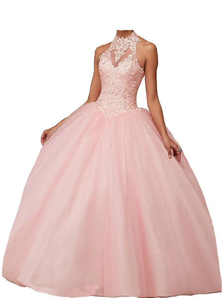 CharmingBridal Beaded Sweet 16 Dresses Sleeveless Halter Neck Basque Waistline Prom Graduation Ball Gown Quinceanera Dresses