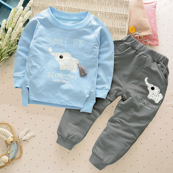 Children Tracksuit For Boys Sport Suits  Cute Elephant Long Sleeved T-shirt Tops Pants 2PCS Outfits Kids Bebes Jogging Suits