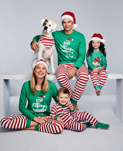 Christmas Family Pajamas Set Family Matching Clothes Xmas Party Clothes Adult Kids Pajamas Set Cotton Baby Romper Sleepwear