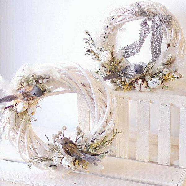 Christmas Rattan Wreath Ornaments Hanging Flower Crafts Home Party Decoration Christmas DIY Garland Gifts Xmas Vine Ring
