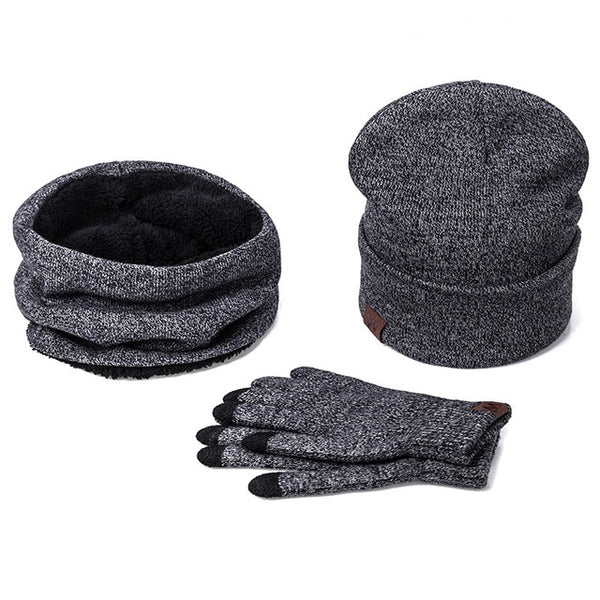 Christmas present Warm 3 Pieces Set Winter Hats Scarf Gloves For Women Men Thick Cotton Winter Accessories Set Male Scarf Gloves