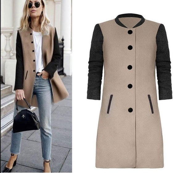 Color Splicing Long Sleeve Warm Winter Long Coat Women Turndown Stand Collar Button Pocket Overcoat Female Casual Autumn