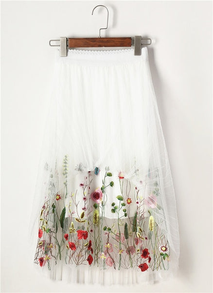 New Puff Women Mesh Tulle long Skirt Fashion Vintage Pleated Floral Embroidery Elegant Female Tutu Skirts SP043