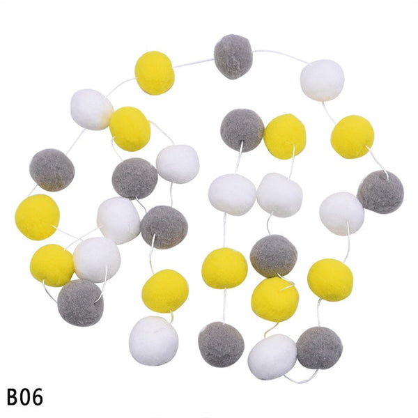 Colorful Hair Ball Pendant Garland Ins Nordic Series Wool Felt Ball String DIY Handmade Nursery Children Room Decor
