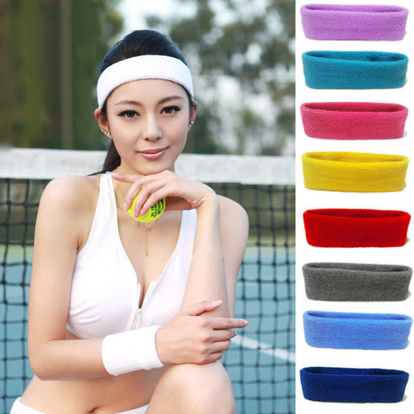 Cotton Active Womens Men Sweat Sweatband Headband Solid Elastic Stretch Head Band Hair