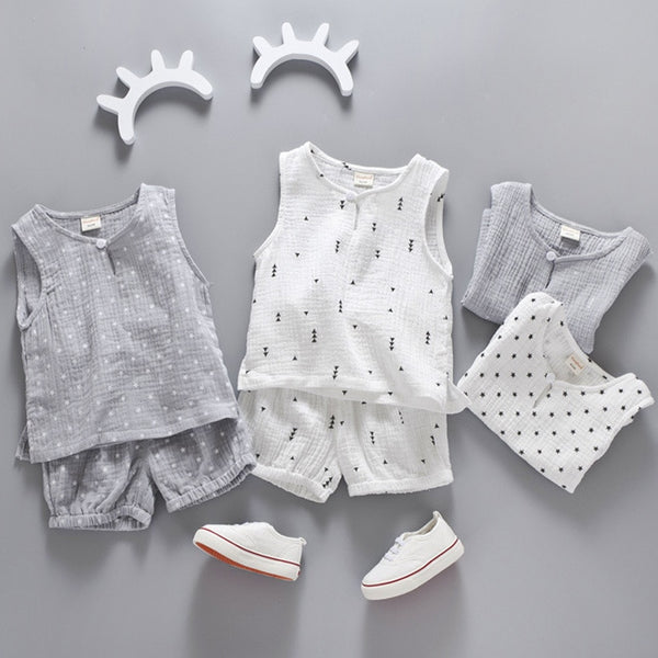 Cotton Linen Boys Girls Suit Summer Sleeveless Vest Shorts 2pcs Suit Children Set Clothing Kids Toddler 0-5T